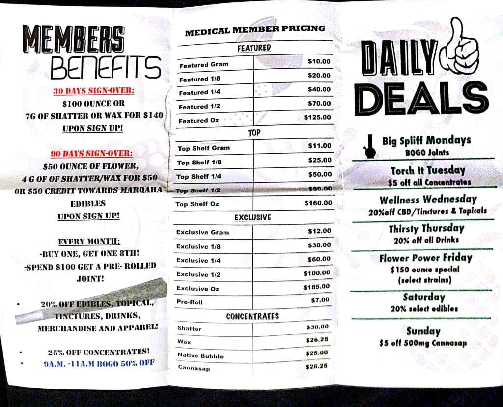 dispensary deals in denver - native roots member menu