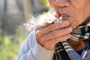 Older Woman Smoking Weed