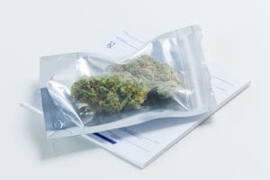 Medical Marijuana in Bag with Prescription Pad