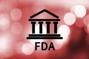 FDA Logo on Blurred Red Background