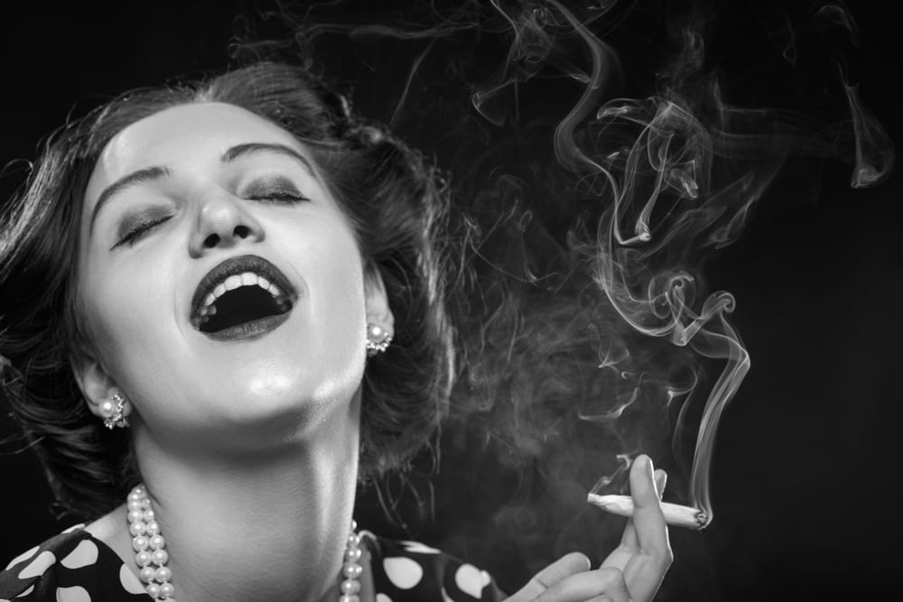 Black and White Woman Smoking Joint