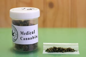 medical cannabis bottle and joint_
