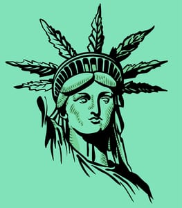 statue of liberty with pot leaf crown