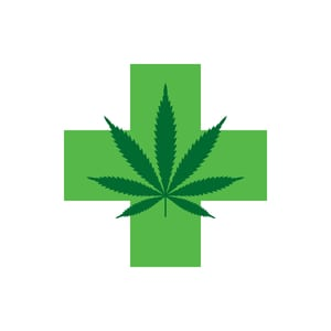 image of green cross with a green marijuana leaf on top of it