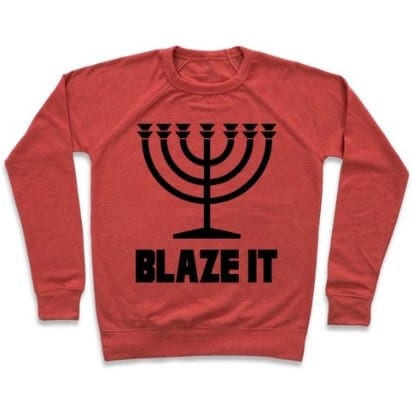 hanukkah sweater with the words blaze it, and a menorah