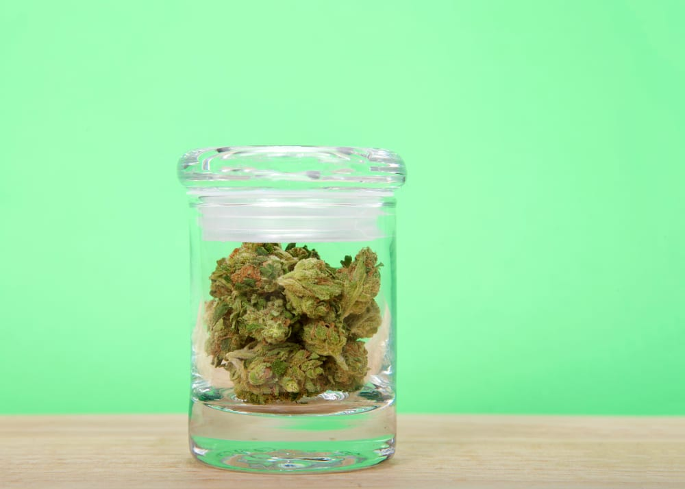 photo of marijuana buds in a glass container in front of a green background