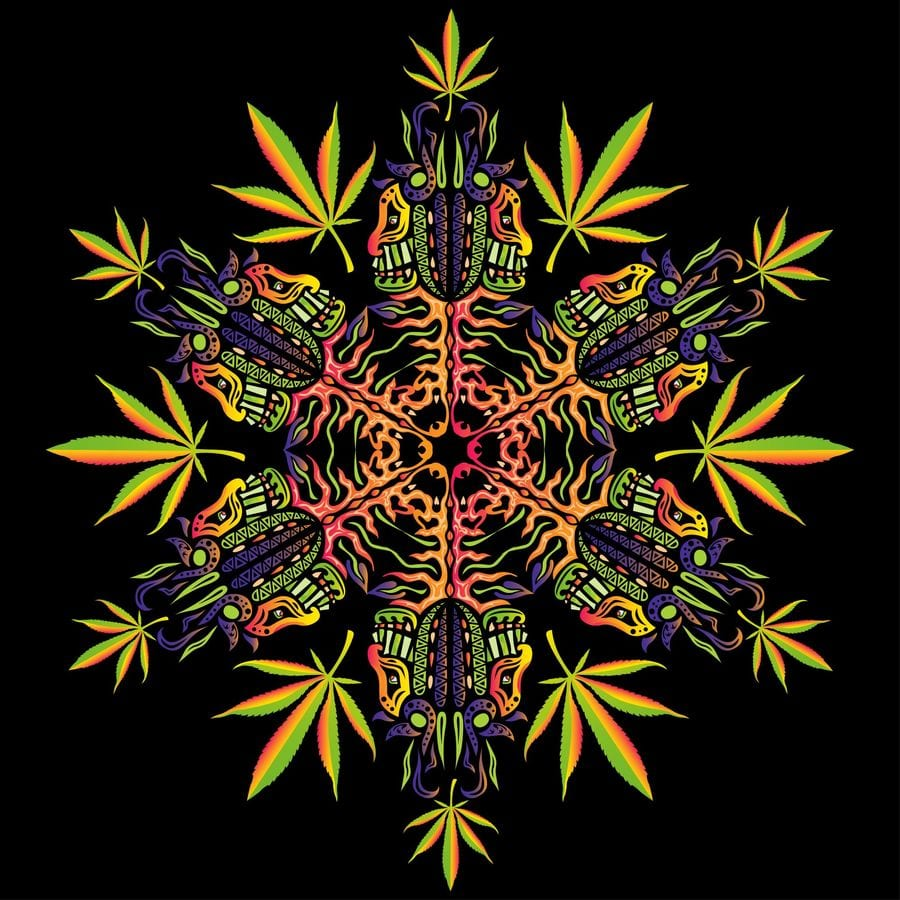 image of cannabis in art in the psychedelic style with colorful marijuana leaves and other colorful images on a black background