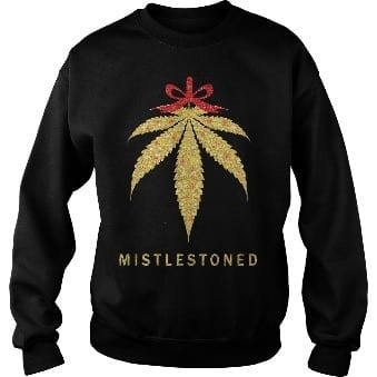 black weed christmas sweater with mistlestoned on the front