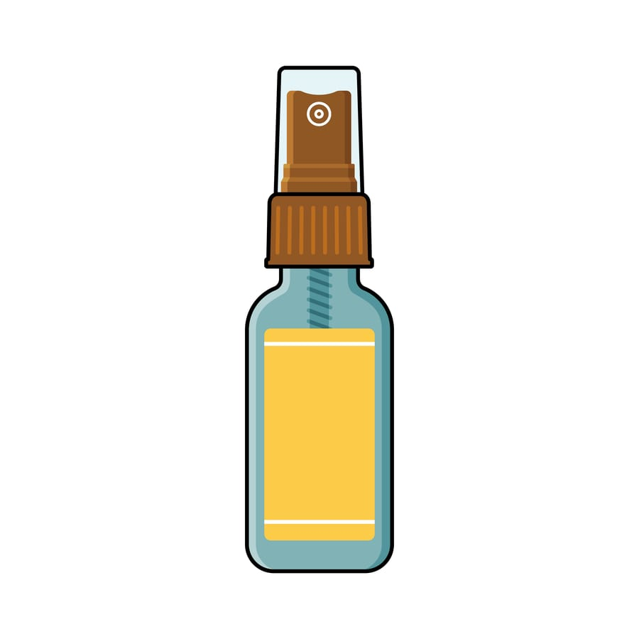 rendering of a small spray bottle to be used for marijuana oral spray