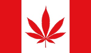 image of canadian flag with a pot leaf replacing the normal leaf