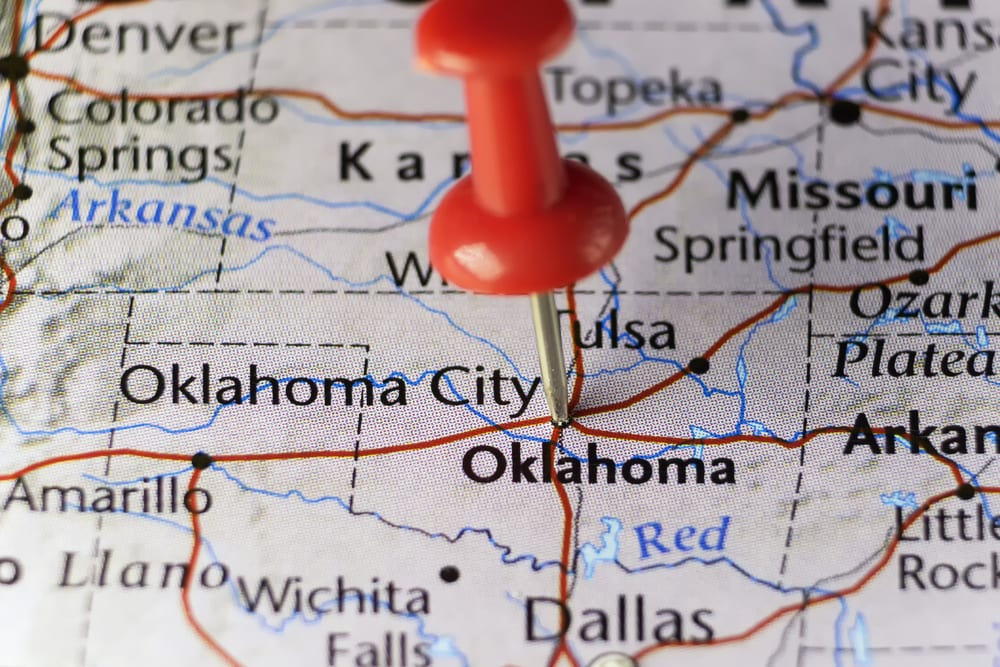 pin pointing to oklahoma on a map, showing there are oklahoma medical marijuana laws