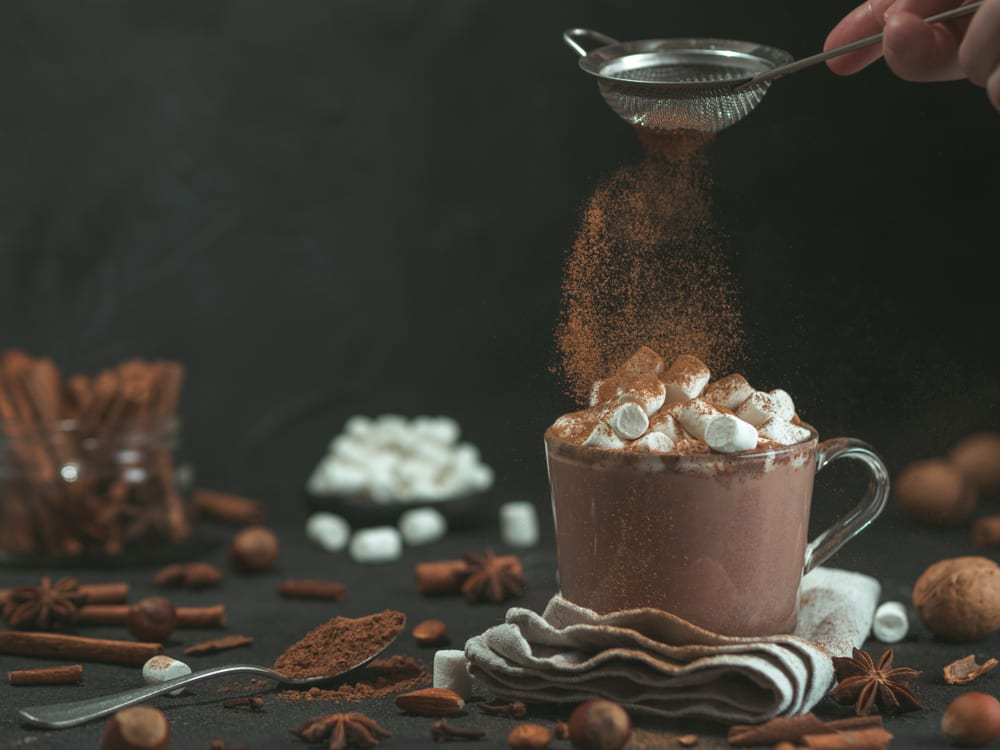 real cup of hot chocolate with marshmallows and cocoa
