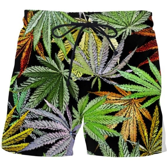 weed swim trunks with pot leaves are a great piece of stoner clothing