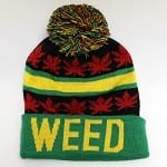 warm hat that says weed