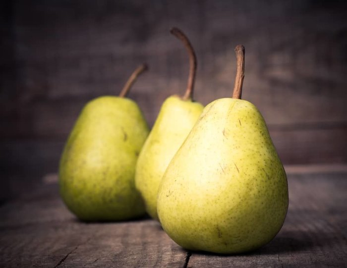 Bartlett Pears on Wooden Table