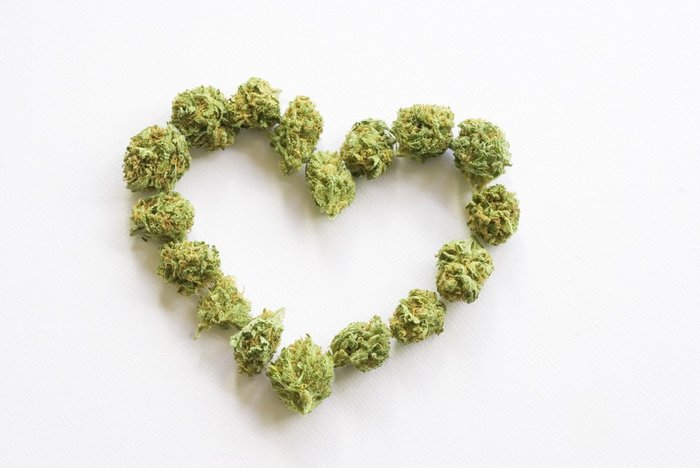 Marijuana Bud in Heart Shape