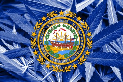 New Hampshire Flag with Marijuana