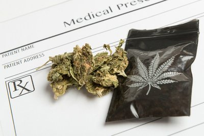 medical marijuana and bag on MMJ doctor pad