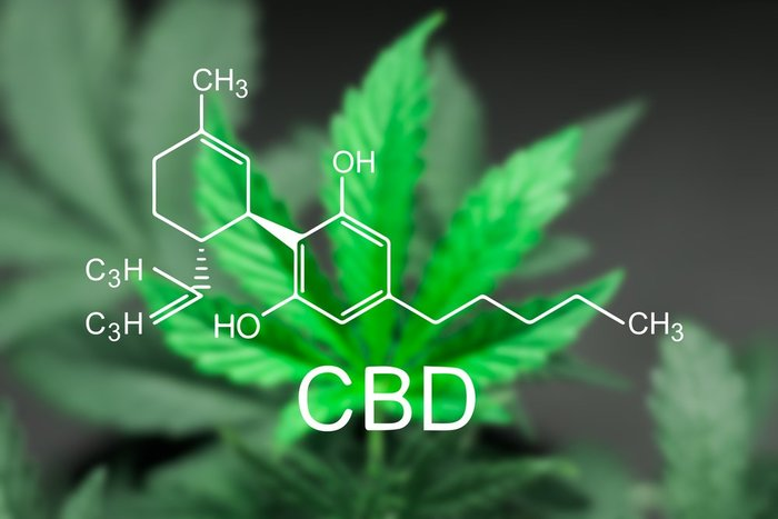 CBD Molecule over Pot Leaf