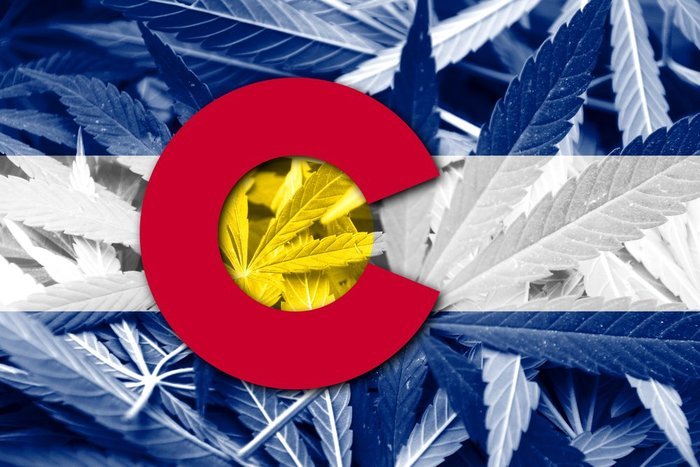 Colorado Flag over Marijuana