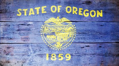Oregon State Flag on Wood