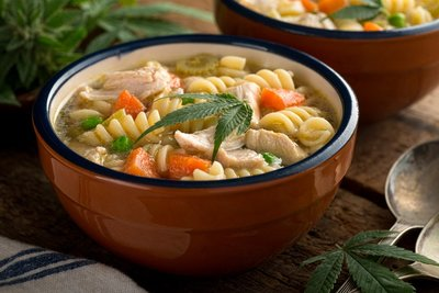 Marijuana chicken noodle soup