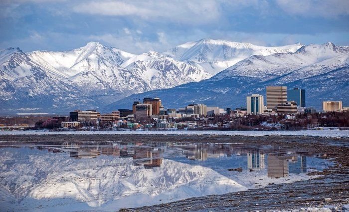 Anchorage skyline and mountains in Alaska