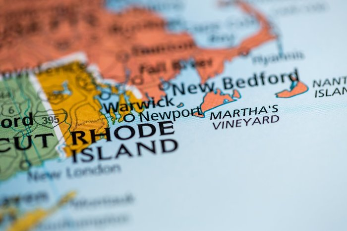 rhode island map with blue background