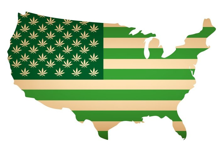 map of unites states with the flag image on top of the stages in all green. where the stars would normally be the flag there are marijuana leaves