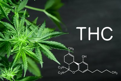 "image of a chalkboard with the chemical compound for THC written out and the letters ""THC"" written with marijuana leaves next to it"