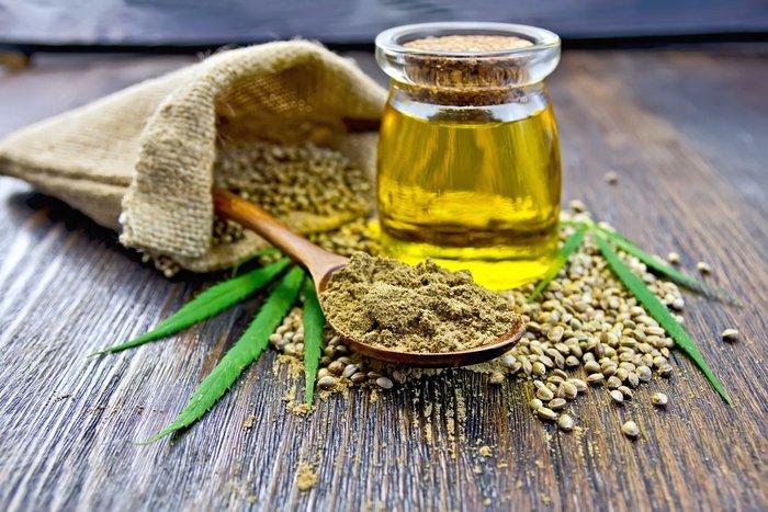 hemp seeds and flour and oil for hemp cbd