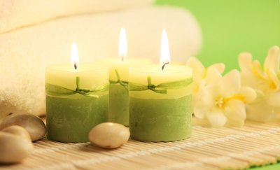 lit marijuana-infused candles