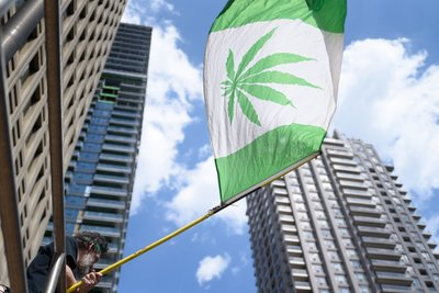 marijuana flag in the city