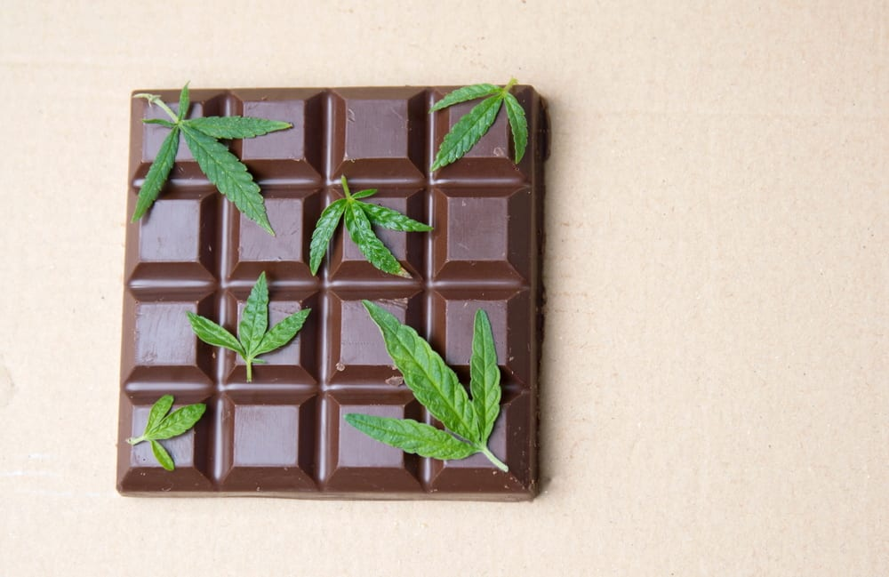 marijuana chocolate bar with small leaves on top, showing chocolates can be some of the best edibles in northern california