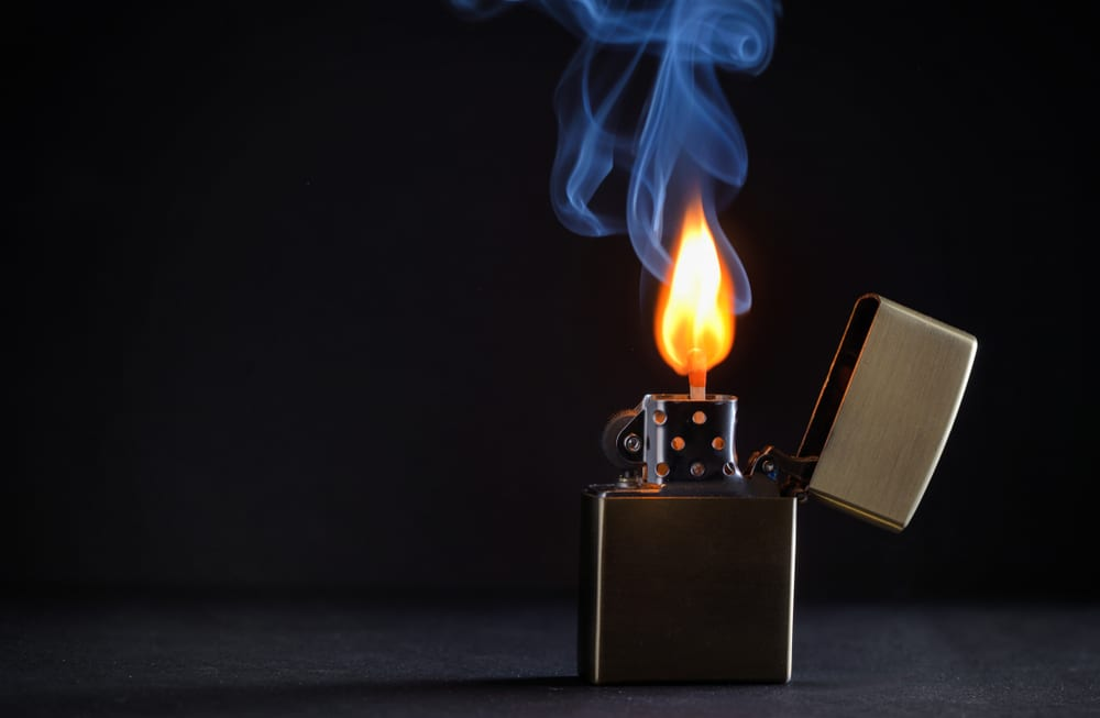zippo lighter with flame