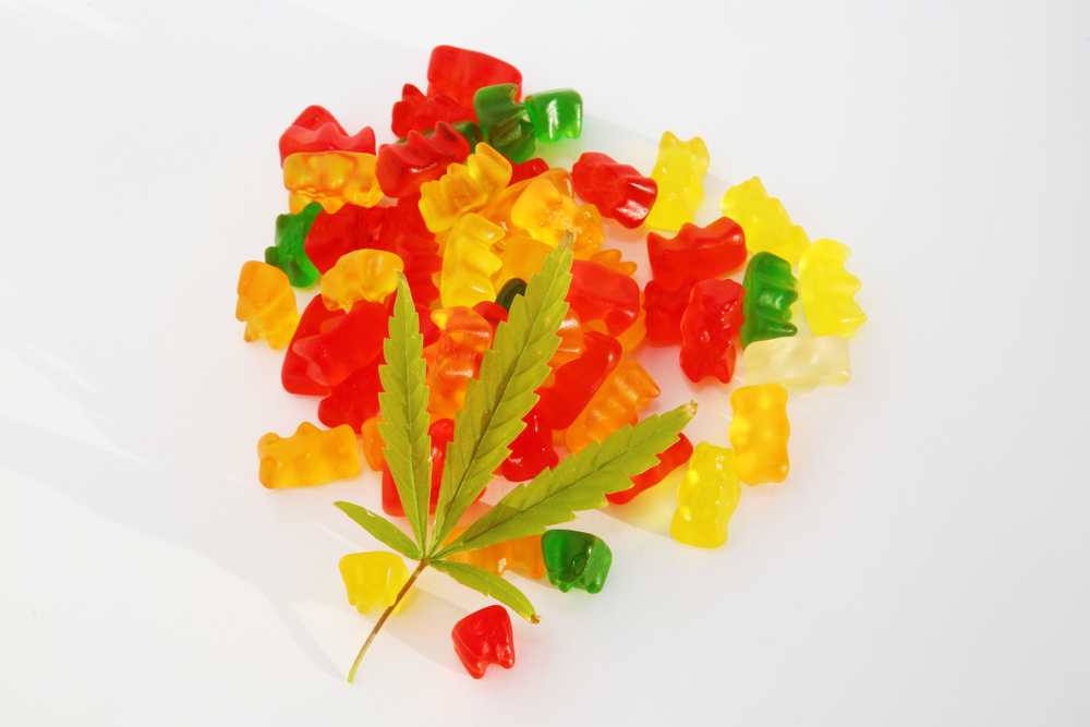 pile of gummy bears and leaf