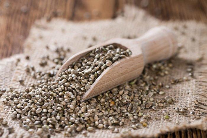 hemp seeds on hemp cloth